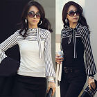 New Womens/Ladies Striped Long Sleeve T-shirt top blouse black & white Size 8-20