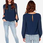 Fashion Sexy Tops Loose Chiffon Long Sleeve Shirt Casual Blouse New