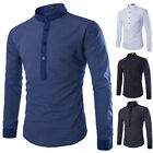 New Men Classic Kurta Dress Shirt Popover Shirts Mandarin Collar (Collarless)