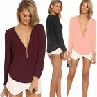 European Style Deep V-neck Chiffon Women's Summer Blouse Shirt Tops Curved Hem