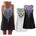 New Womens Ladies Jumpsuit Mini Playsuit Summer A-Line Beach Boho Print Dress UK