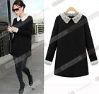Fashion Women's Black Color Long Sleeves Party Dress with Lace Peter Pan Collar