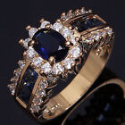 Luxury  Womens Blue Sapphire Cz 18K Gold Silver Wedding Rings Bridal Size 7 8 9