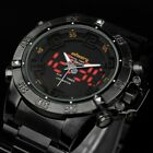 INFANTRY Mens Wrist Watch Quartz Black Steel Sport  Chronograph Light Alarm Army