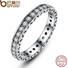 Authentic S925 Sterling Silver P Retro Ring With Crystal Luxury Jewelry Size 7-8