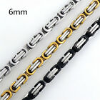 Customized 6mm Silver/Gold/Black Tone Men Stainless Steel Byzantine Box Necklace