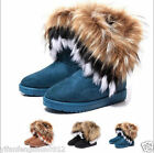 women winter warm high long snow Ankle boots faux fox rabbit fur tassel shoes