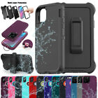 iPhone XR 8 7 6s Plus Shockproof Hard Defender Protective Case Cover w/Belt Clip