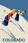 Couple Ski Skiing Colorado American Winter Sport Vintage Poster Repro FREE S/H