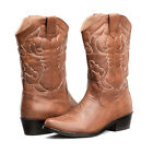 Womens Tan Sexy Pointy Toe Cowboy Cowgirl Casual Mid-Calf Casual Cuban Boot Shoe