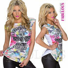 Hot Sexy European Womens Top Size 10 12 6 8 M L Camo Floral Print Military Army