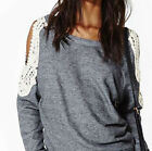 Fashion Women Ladies Loose Strapless Long Sleeve Casual Blouse Tops T-Shirt
