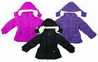 Girls Fleece Lined Hooded Plain Winter Anorak Padded Coat 3-13 Years