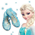 Frozen Elsa Princess Girls Blue Shoes Fancy Dress Up Cosplay Jelly Party Costume