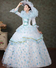 Court Organza Lace Victorian Flounce Theater Halloween Costume Prom dress Blue