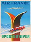 Skis Bobsled Winter Sports D'Hiver France French Vintage Poster Repro FREE S/H