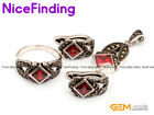 Semi Ruby Fashion Jewerly Earrings Ring Pendant Set Tibetan Silver Marcasite