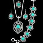 Fashion Jewelry Necklace Bracelet Earrings Ring Flower Turquoise Jewelry Sets
