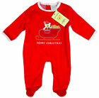 Baby Merry Christmas SANTA SLEIGH Red Velour Romper Suit Newborn - 6 Months NEW