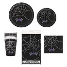 Black Spider Web HALLOWEEN PARTY TABLEWARE RANGE (Plates/Cups/Napkins) {Unique}