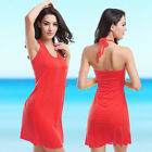 Sexy Lady Spandex Neck Tie Swimwear Cover Up Bathing Bikin Solid Beach Dresses
