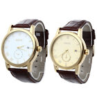 Mens Leather Automatic Mechanical Watch Gold Bezel White Dial Calendar Sport