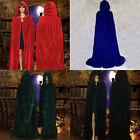 Witch Velvet Cloak Adult Hooded Cape Halloween Wedding Role Play Costume Robe