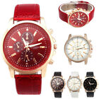 Womens Geneva Leather Strap Fashion Sports Stainless Dial Quartz Wrist Watch NEW