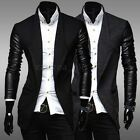 Men's Winter Trench Long Overcoat Slim Fit Leather Sleeve Coats Jackets Outwear