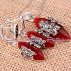 Marquise Red Agate Onyx Vintage Tibetan Silver Earrings 10x22mm Pendant 14x30mm