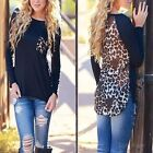 New Women Leopard Long Sleeve Casual Tee T-Shirt Blouse Ladies Loose Sexy Tops