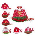 3PCS Toddler Baby Girls Christmas Long Sleeves Romper Tutu Dress Outfits Clothes