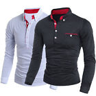 NEW MEN'S V NECK SLIM FIT FASHION LONG SLEEVE T-SHIRT POLO SHIRT 4 SIZE M- 2XL