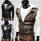 Men's Korean Knitting Sleeve Hooded Leather Coat Casual Slim PU Jackets Hot Sale