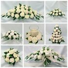 WEDDING FLOWERS TOP TABLE ARRANGEMENT CANDLE RING PACKAGE IVORY FOAM ROSES