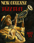"""Music New Orleans Jazz Fetival Trumpet Player 16""""X20"""" Vintage Poster FREE S/H"""