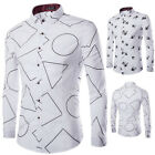 Swallow Or Geometry Shapes Mens Korean Fashion Slim Causal Long Sleeve Shirts