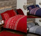 NORDIC FAIRISLE CHRISTMAS DUVET COVERS QUILT SETS NAVY RED GREY