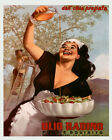 Italian Girl Olive Oil Salad Tomatoes Italy Food 16X20 Vintage Poster FREE S/H