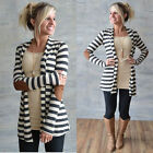 Women Casual Long Sleeve Striped Cardigans Patchwork Outwear Sweater Jacket Coat