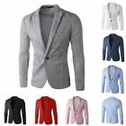 Fashion Men Casual Formal Jacket Solid Designed Smart Slim-Fit Blazers Coat To