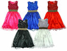 Girls Sequin Sparkle Body Satin Feel Chiffon Mesh Skirt Party Dress 3 - 12 Years
