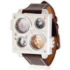 OULM Men's Date Leather Stainless Steel 3cores Military Sport Quartz Wrist Watch
