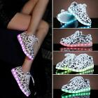 2015 Women's USB Charge Sneakers LED Glow Fluorescence 7 Color Shoes Music Print