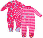 Girls Baby Toddler Pack of 2 Music Fleece Sleepsuits Pink Newborn to 3 Years