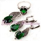 Green CZ Crystal Marcasite Tibetan Silver Classical Lady Pendant Earrings Ring