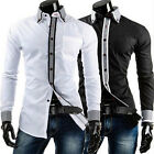 New Men Shirt Cool Blouse Houndstooth Cotton Handsome Style Double-Layer Collar