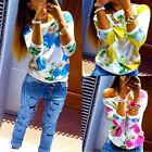 New Womens Floral Long Sleeve Tee T-Shirt Casual Round Neck Casual Tops Blouse