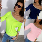 Fashion Womens Loose Pullover T Shirt Long Sleeve Cotton Top Shirt Sexy Blouse