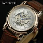 PACIFISTOR Mens Mechanical Wrist Watch Skeleton Leather Luxury Manul Windup Gift